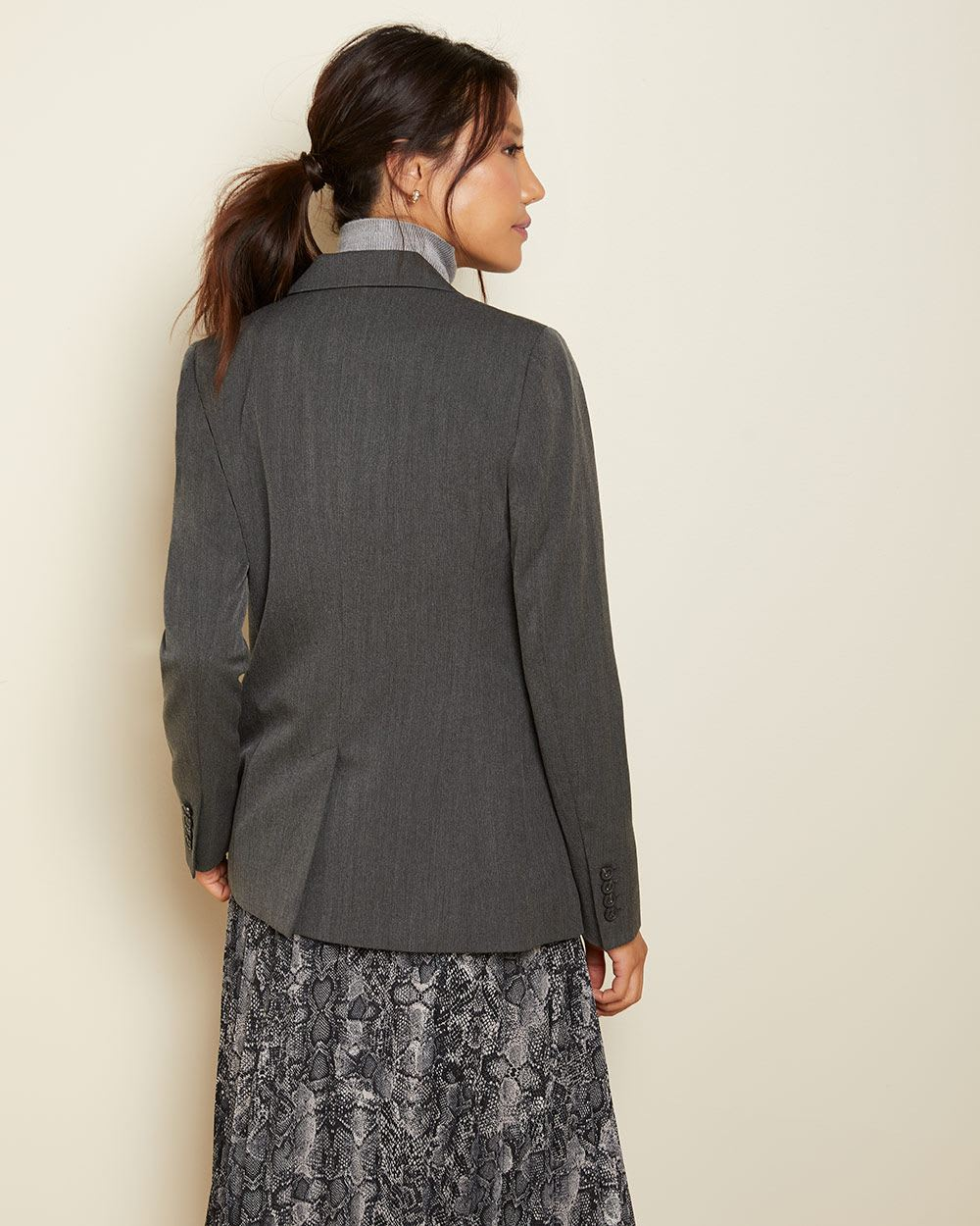 Long Fitted grey chevron blazer