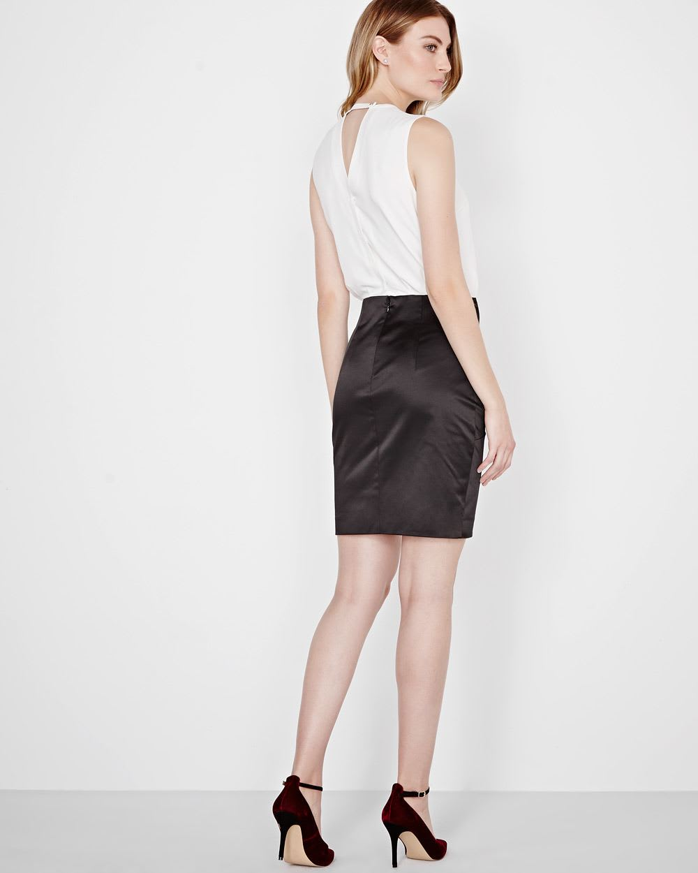 73c9b6b7b21 Black and White Crepe and Satin Fitted Dress