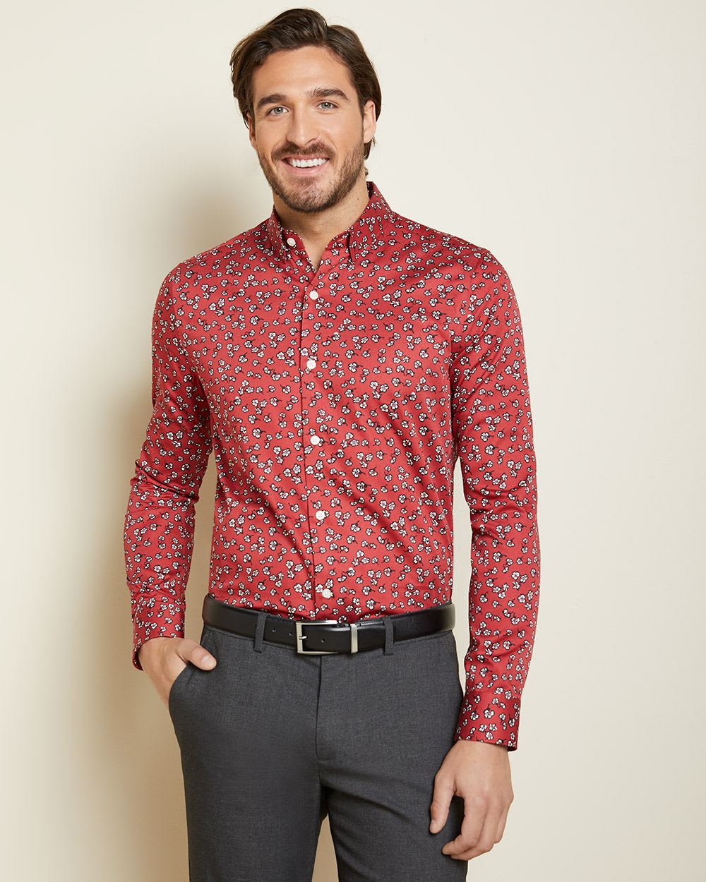Slim Fit white floral dress shirt