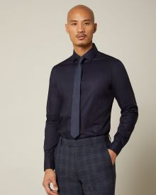 Slim fit navy blue dress shirt - Short