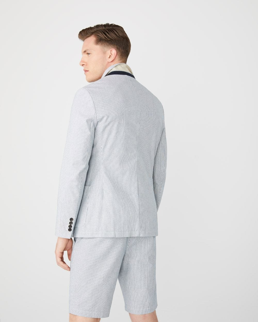Slim fit blue pinstripe blazer