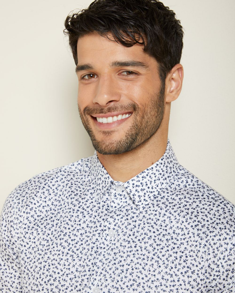 Athletic Fit micro floral dress shirt