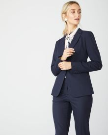 Fitted Stretch Navy Pinstripe Blazer