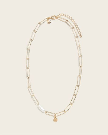 Chain Link Necklace with Pearl