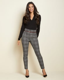High-waist tapered leg grey check pant