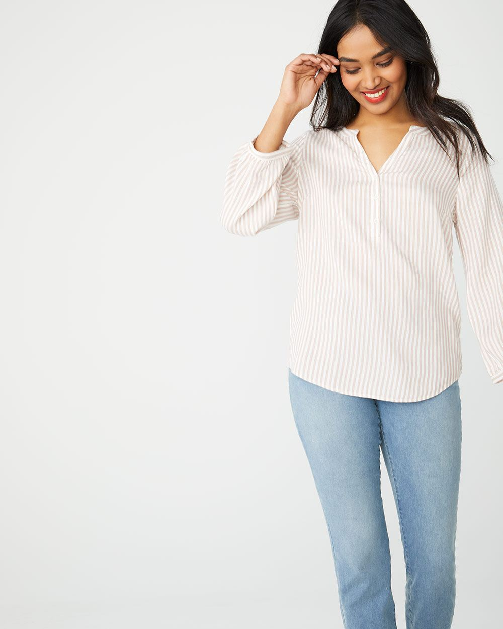 d4a57985913371 Pinstripe blouse with half-placket   RW&CO.