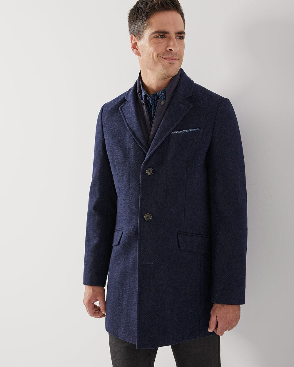Navy Wool Blend Top Coat Rwco Tendencies Chinos Short 32