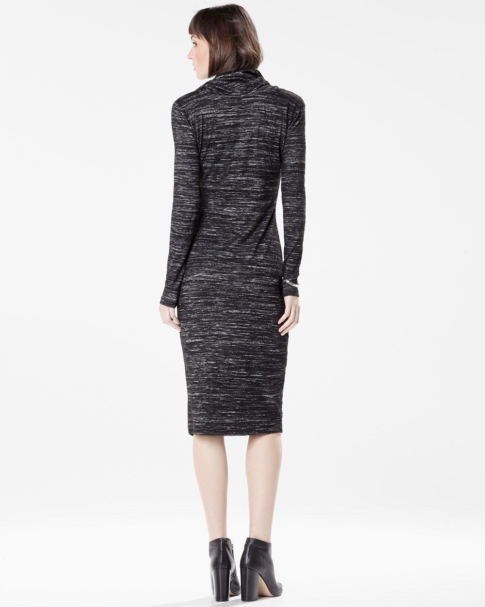 Cowl Neck Hooded Dress: Long Sleeve Cowl-neck Knit Dress