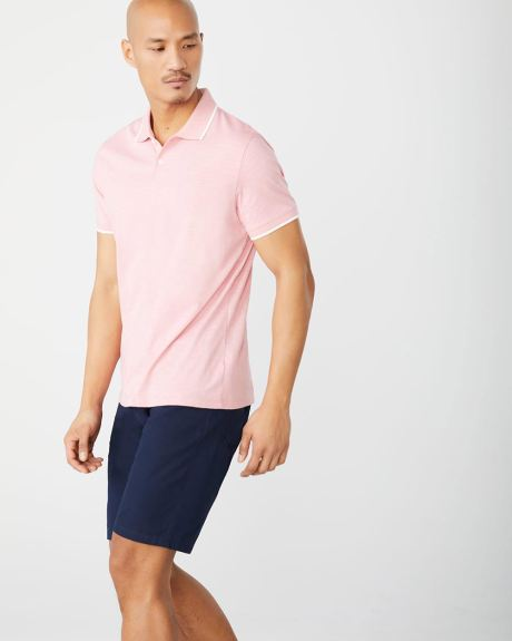 Short sleeve polo with contrast trims