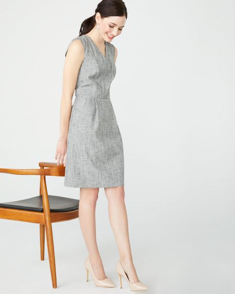 a7313326cb1 Sleeveless Fit and flare crosshatch dot dress