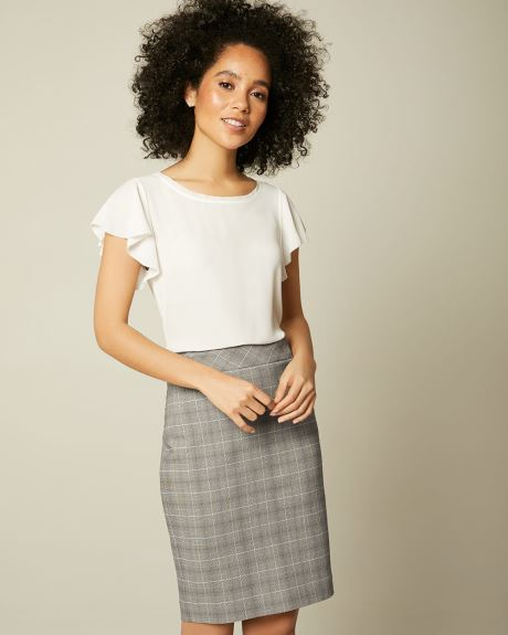 Grey And Blue Plaid Pencil City Skirt