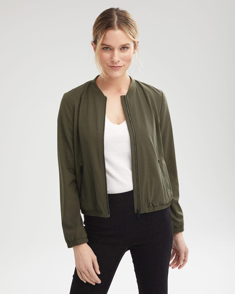 Stretch Loose Fit Bomber Blazer