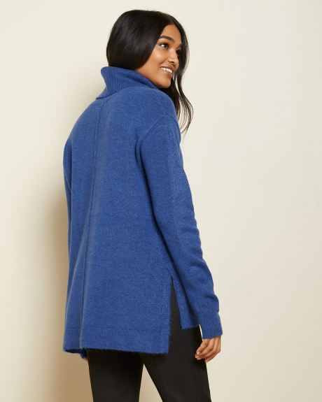 Relaxed fit spongy knit tunic sweater