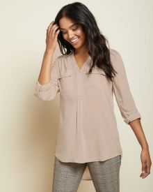 C&G Stretch challis tunic blouse with roll-up sleeves