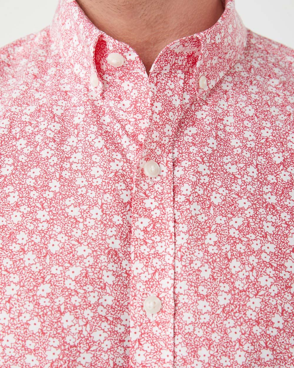 Tailored Fit Short Sleeve white floral Shirt
