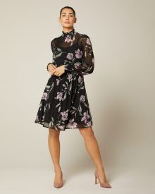 Floral mesh fit and flare mock-neck dress