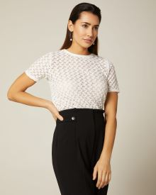 Short sleeve crocheted lace top