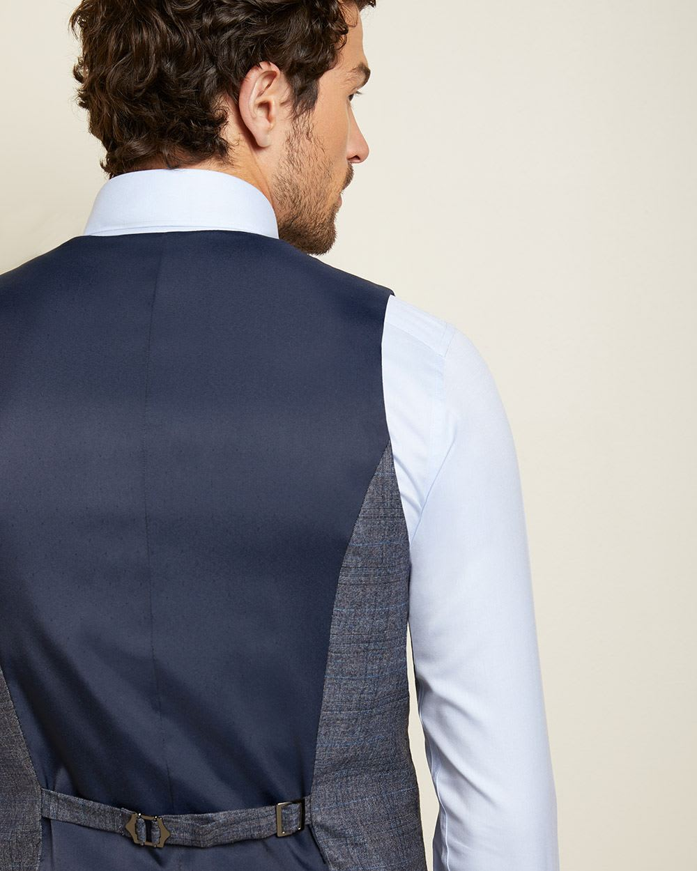 Slim Fit Wool Check Suit Vest