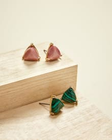 Triangle stud earrings - 2 pairs