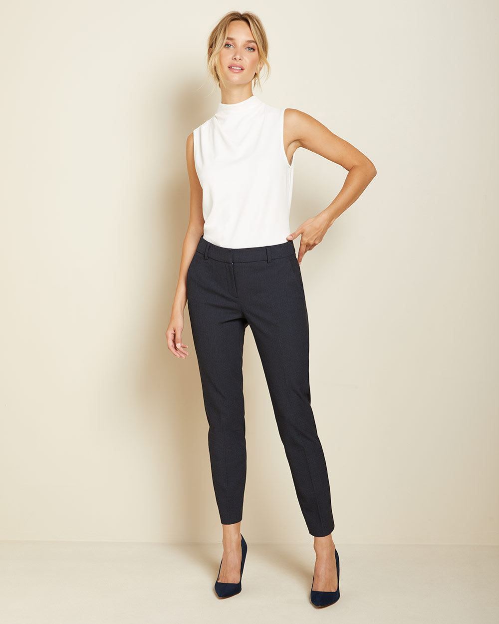 Two-tone Navy Curvy fit Slim Leg Ankle Pant
