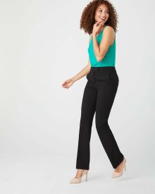 Black stretch High-Waist Signature fit semi-Flare Leg Pant