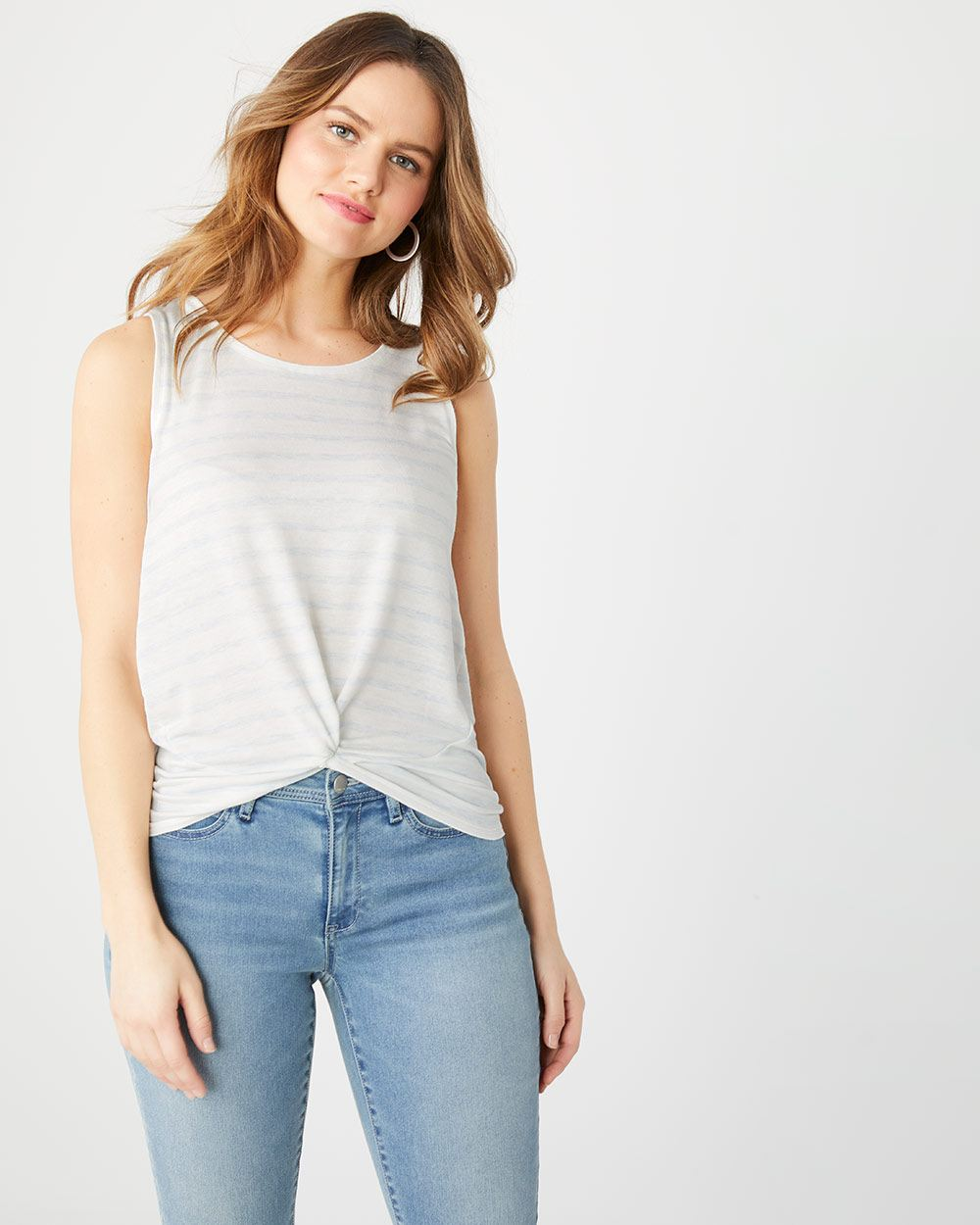 Sleeveless striped French terry twist-front t-shirt