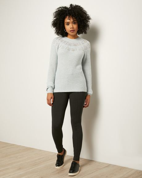 Hairy Knit Pointelle Sweater