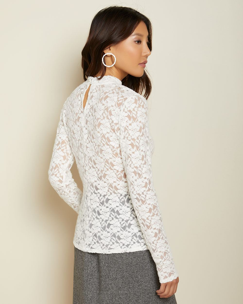Fitted brushed lace mock-neck top
