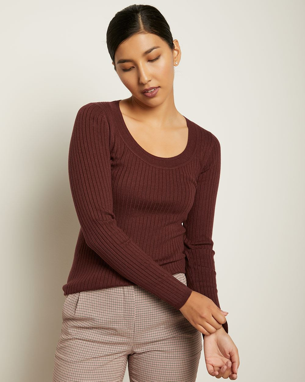 Rib Knit Long Sleeve Scoop Neck Sweater