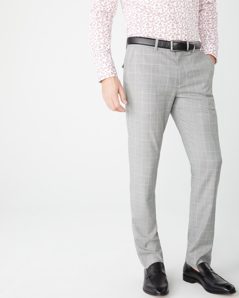 Slim fit beige windowpane City Pant - 34''
