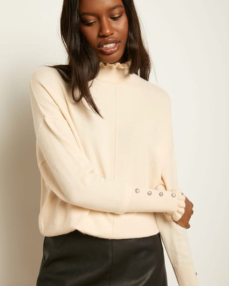 Ruffled-trimmed Spongy Bat-wing Sleeve Sweater