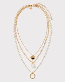 Multilayer pearl and chain necklace