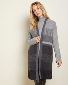C&G Textured Spongy knit open-front cardigan