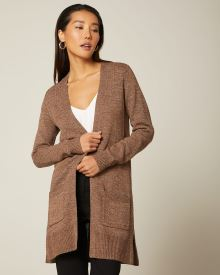 Open-front cardigan with pockets
