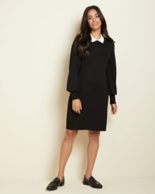 Long sleeve polo collar sweater dress