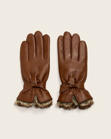 Brown Leather gloves with faux-fur and wrist tie