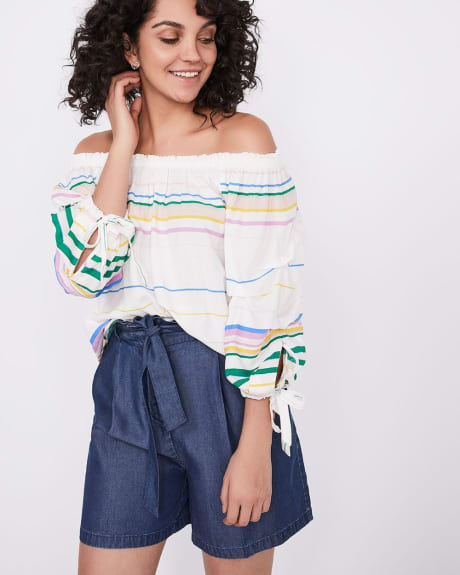 Off-the-shoulder challis blouse
