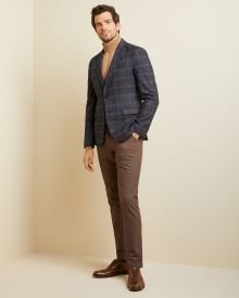 Slim fit grey check navy blazer