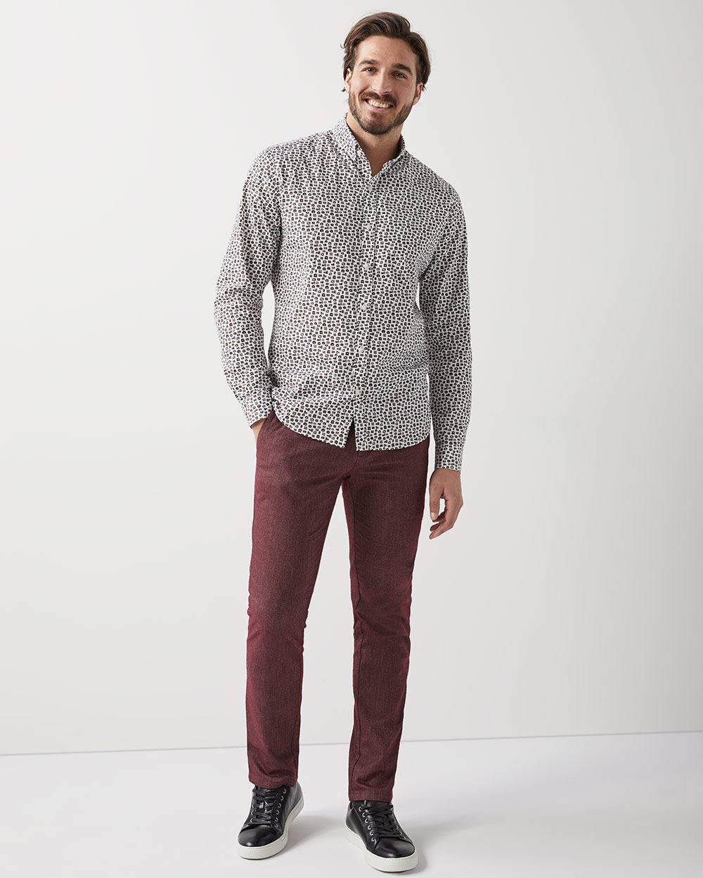 Slim fit textured Brushed twill Pant