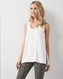 Solid silky crepe sleeveless tunic blouse