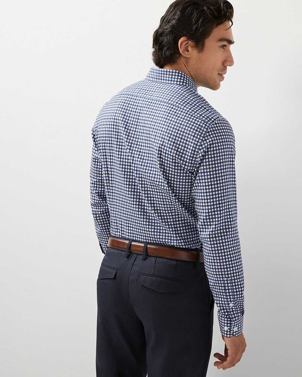 Athletic fit dobby check dress shirt
