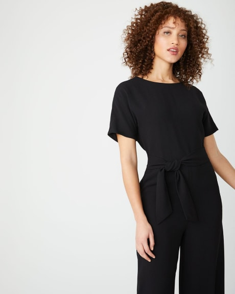 Black Crossover-back Crop leg jumpsuit