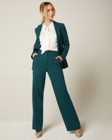 Peacock green High-waist Signature fit wide leg Pant