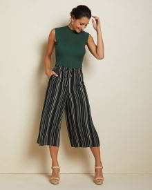 Silky crepe Striped wide crop leg pant