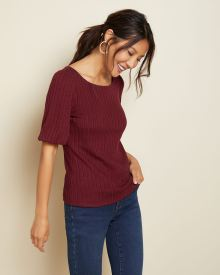 Cabernet red Balloon sleeve pointelle t-shirt