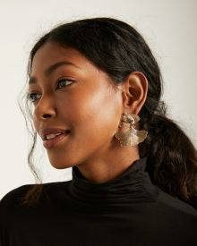 Gold Petal Statement Earrings