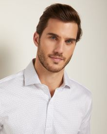 Athletic Fit two-tone dot dress shirt