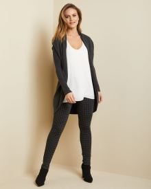 High-waist black Houndstooth legging pant