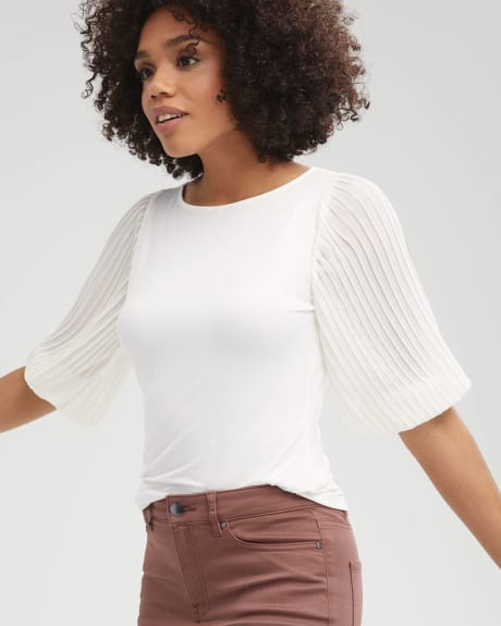 Chiffon Sleeve Mixed Media T-Shirt
