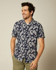 Tailored Fit Floral Navy Short Sleeve Shirt